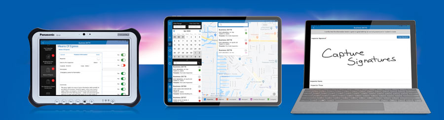 Streamline Inspections shown here on Windows Tablets and iPad