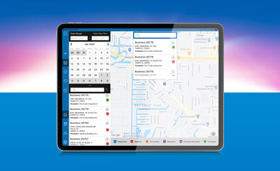Streamline Inspections mapping Screen shown on an iPad Pro